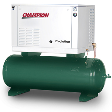 Champion Evolution Horizontal Tank Compressor Angle View